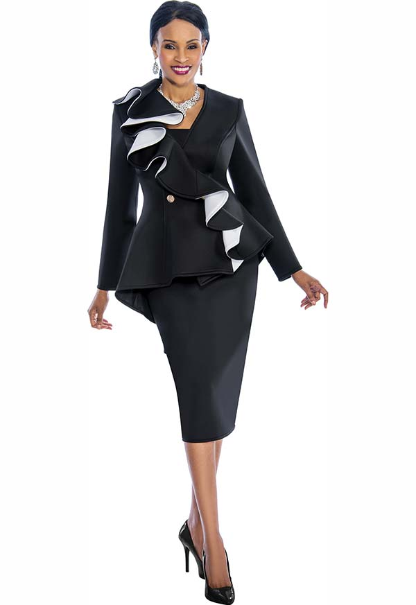 Susanna 3847 - Womens Skirt Set With Ruffle Design Peplum Jacket