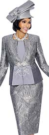 Susanna 3858-Pewter - Ladies Textured Pattern Skirt Set
