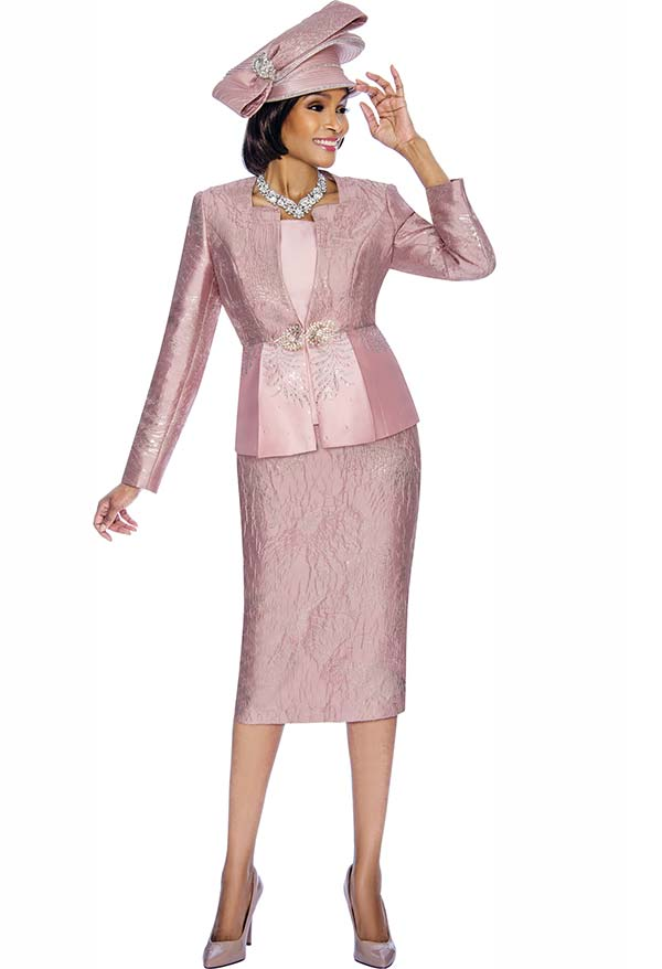 Susanna 3858-DustyRose - Ladies Textured Pattern Skirt Set