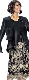 Susanna 3859 - Womens Outfit With Peplum Dress & Bell Cuff Bolero Jacket