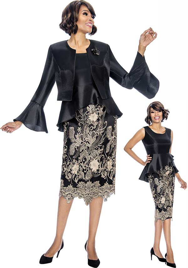 Susanna 3859 - Womens Outfit With Peplum Dress & Bell Cuff Bolero Jacket