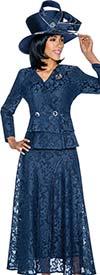 Susanna 3860-Navy - Lace Design Skirt Set With Layered Peplum Jacket