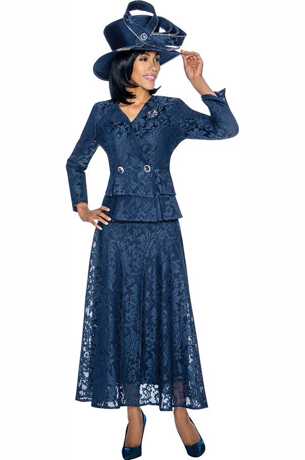 Susanna 3860-Navy - Lace Design Skirt Set With Layered Peplum Jacket