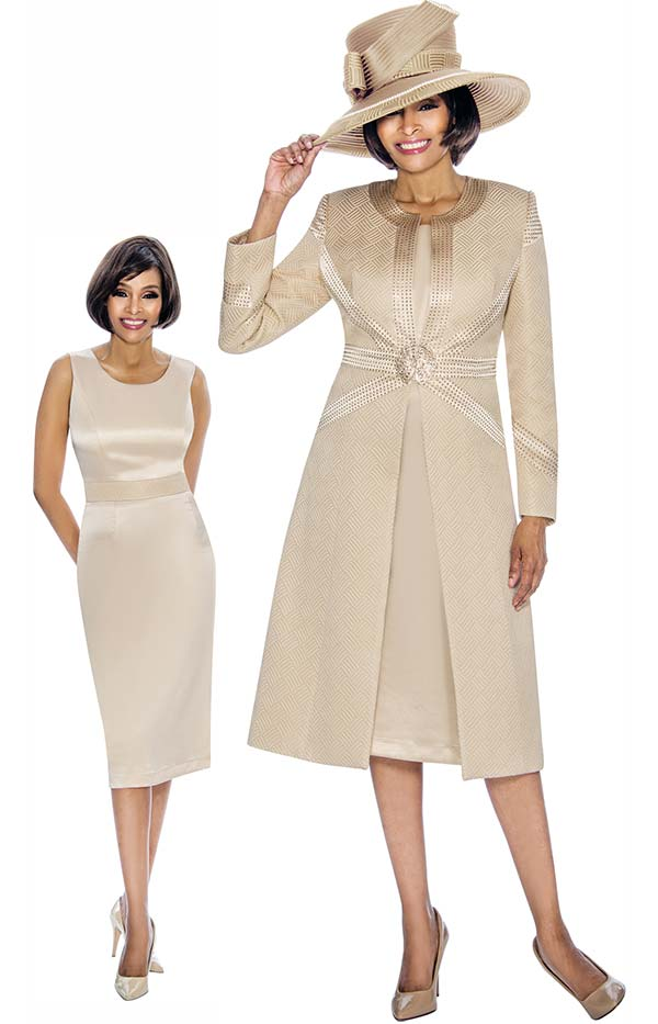 Susanna 3865-Champagne - Long Jacket & Fitted Dress Set