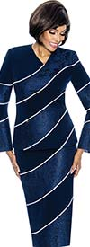 Susanna 3866-Navy - Two Piece Vee Neckline Skirt Outfit With Diagonal Stripe Design