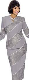 Susanna 3866-Platinum - Two Piece Vee Neckline Skirt Outfit With Diagonal Stripe Design