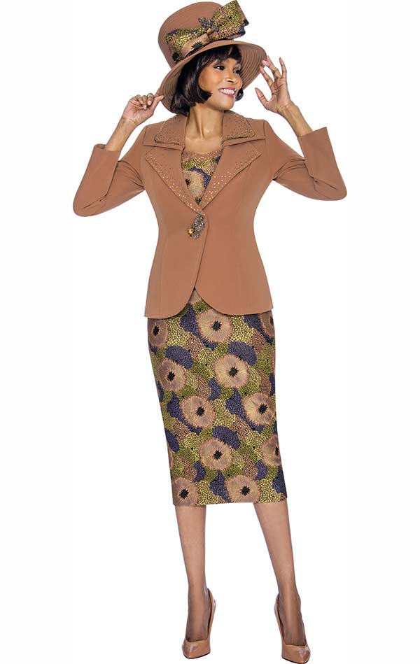 Susanna 3867 - Ladies Printed Pattern Three Piece Skirt Set With Layered Lapel Jacket