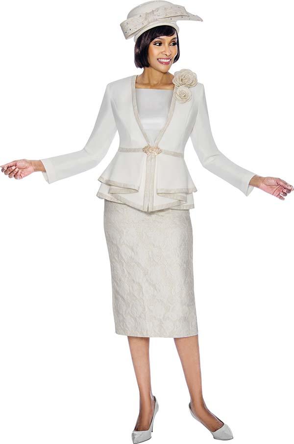 Susanna 3868 - Three Piece Skirt Set With Peplum Jacket & Fabric Flowers