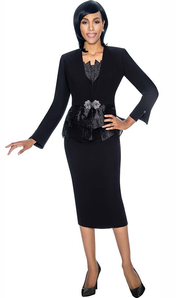 Susanna 3870-Black - Skirt Set With Paneled Peplum Design Jacket