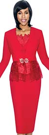 Susanna 3870-Red - Skirt Set With Paneled Peplum Design Jacket