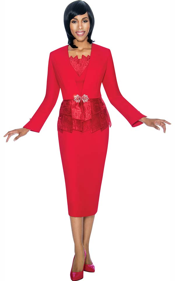 Susanna 3870-Red - Skirt Set With Paneled Peplum Design Jacket