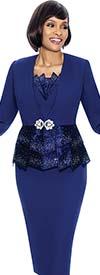 Susanna 3870-Purple - Skirt Set With Paneled Peplum Design Jacket