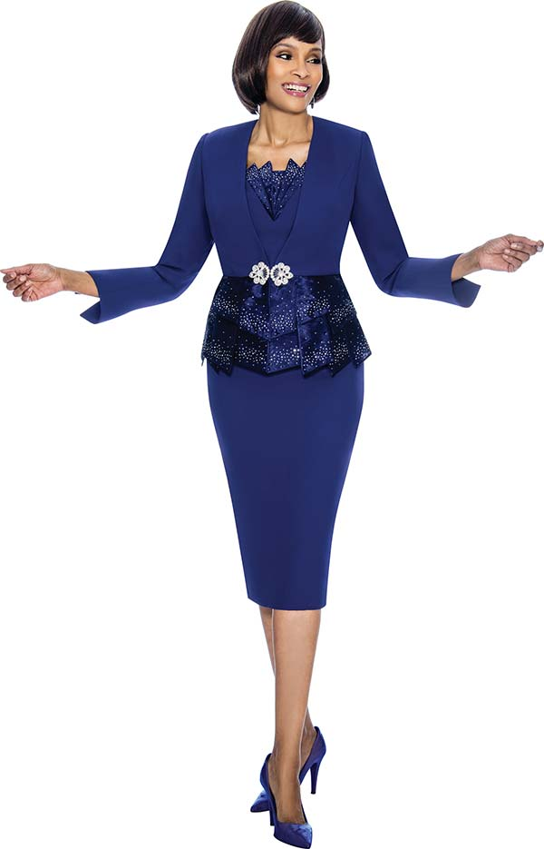 Susanna 3870-Purple - Skirt Set With Paneled Peplum Design Jacket