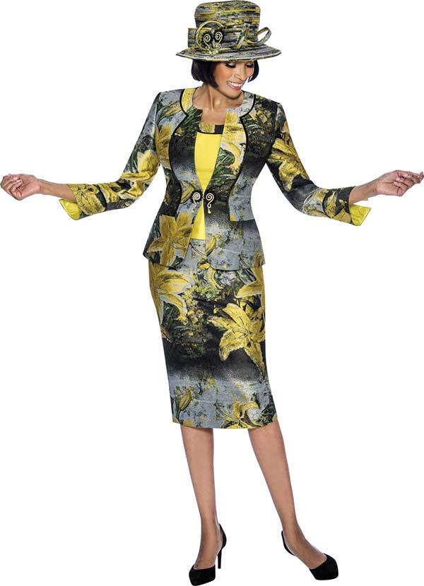 Susanna 3871 - Three Piece Floral Printed Skirt Set With Split Cuffs