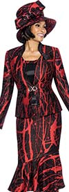 Susanna 3872 - Three Piece Peplum Skirt Outfit With Printed Design