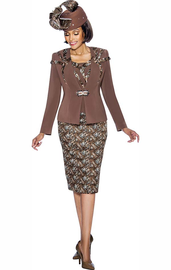 Susanna 3873 - Three Piece Skirt Outfit With Leopard Printed Design