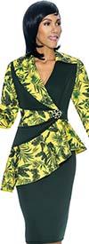 Susanna 3875 - Ladies Skirt Outfit With Asymmetric Style Peplum Jacket