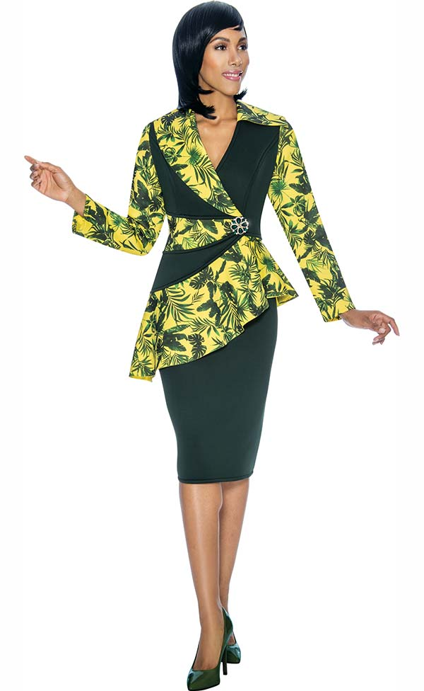 Susanna 3875 - Ladies Skirt Outfit With Asymmetric Style Peplum Jacket
