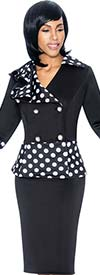 Susanna 3876 - Ladies Skirt Outfit With Double Breasted Bell Cuff Polka Dot Design Jacket