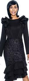 Susanna 3877-Black - Ruffle Design Layered Flounce Dress