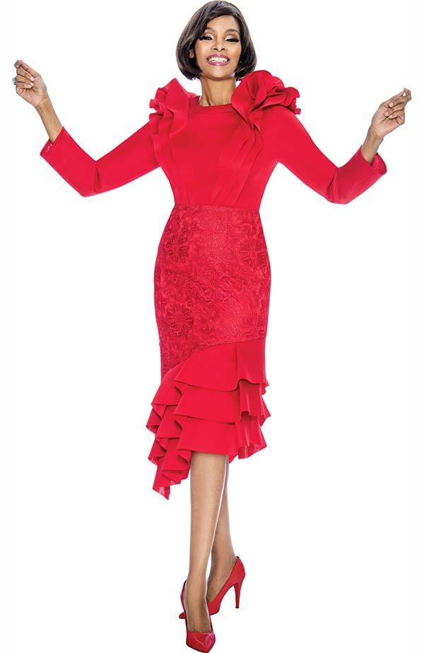 Susanna 3877-Red - Ruffle Design Layered Flounce Dress