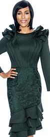 Susanna 3877-Hunter - Ruffle Design Layered Flounce Dress