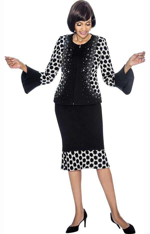 Susanna 3880 - Geometric Pattern Design Flared Skirt Set With Bell Cuff Sleeve Jacket