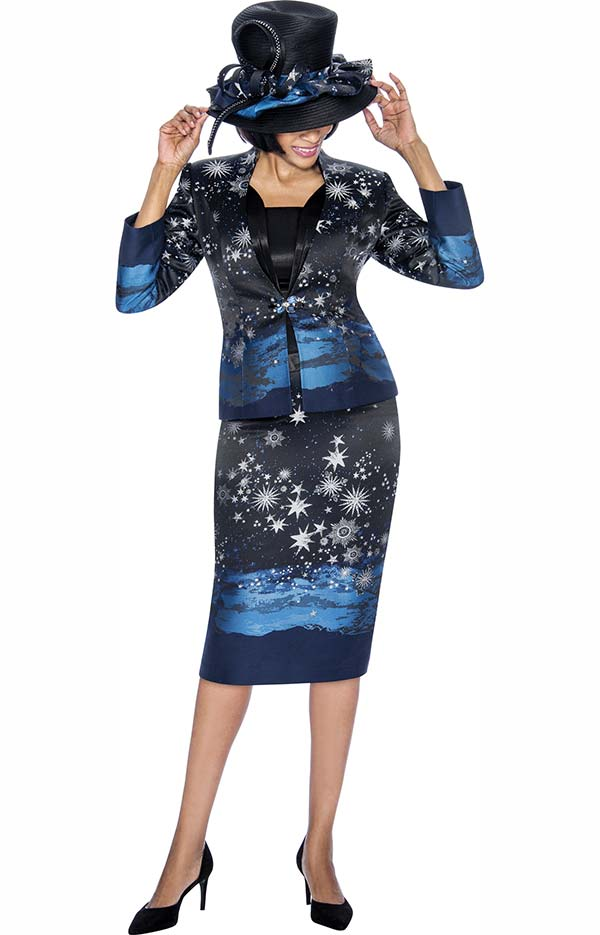 Susanna 3881 - Three Piece Skirt Outfit With Starry Sky Print Design