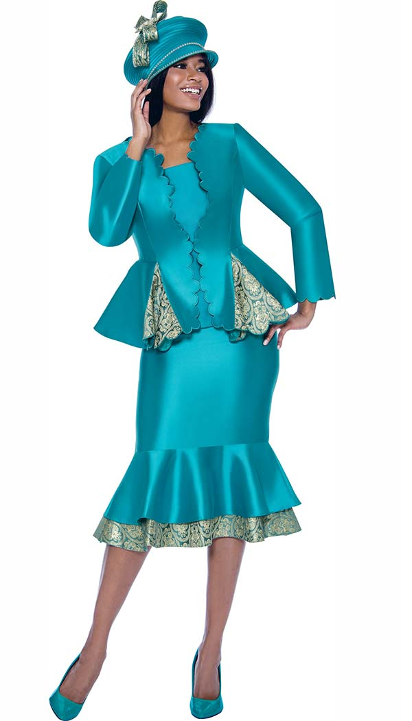 Susanna 3906 - Double Layer Flounce Skirt Suit With Scalloped Edge Godet Pleated Peplum Jacket