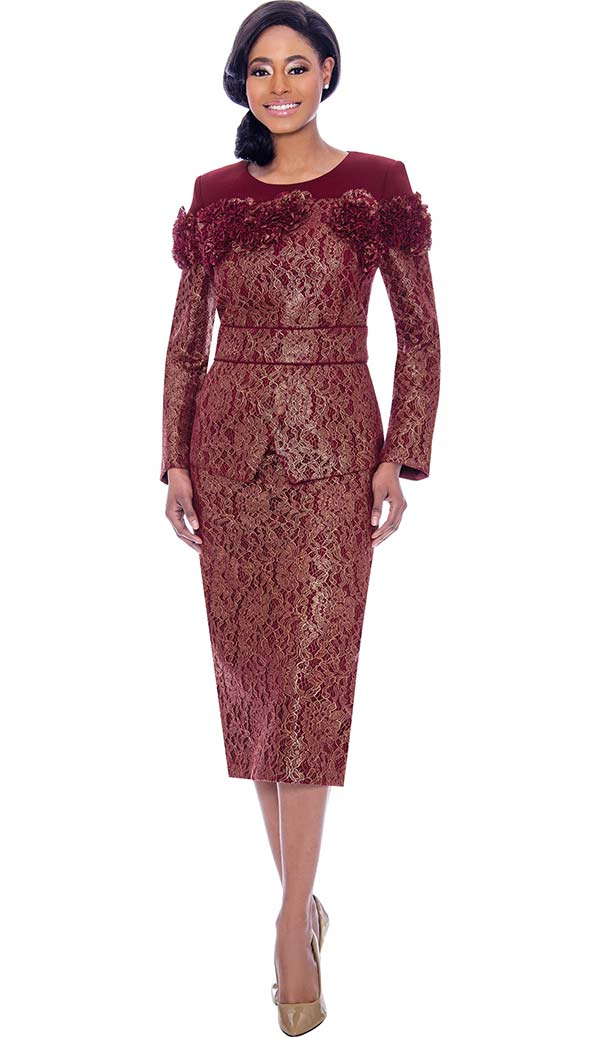 Susanna 3912 - Skirt & Jacket Set In Lace Brocade Fabric With Fabric Flower Accents