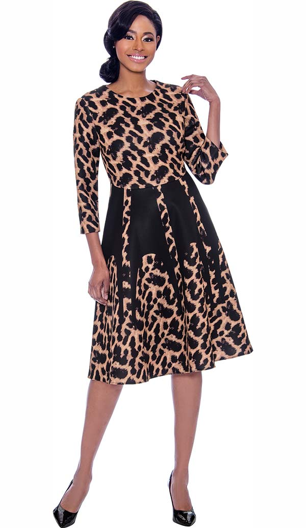Susanna 3913 - Leopard Print Dress With Three Quarter Sleeves