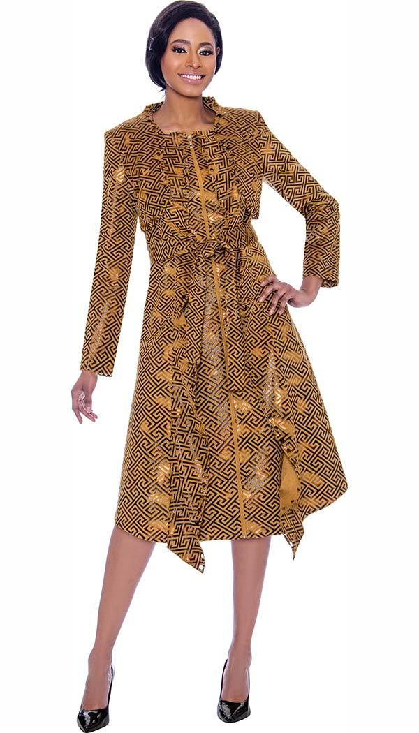 Susanna 3914 - Square Spiral Pattern Design Dress With Sash