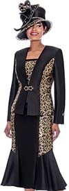 Susanna 3916 - Three Piece Flared Skirt Suit With Leopard Pattern Accents