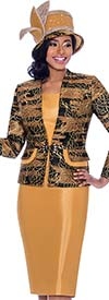 Susanna 3921 - Skirt Suit With Leaf Outline Pattern Design Jacket