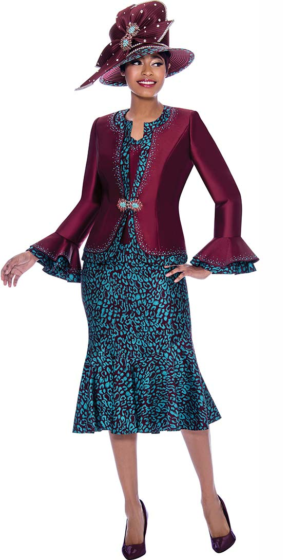 Susanna 3922 - Flounce Hem Skirt Suit In Abstract Pattern Design With Layered Bell Cuff Jacket