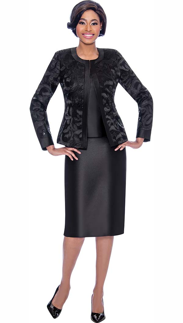 Susanna 3923-Black - Womens Church Suit With Brocade Style Jacket And Solid Color Skirt