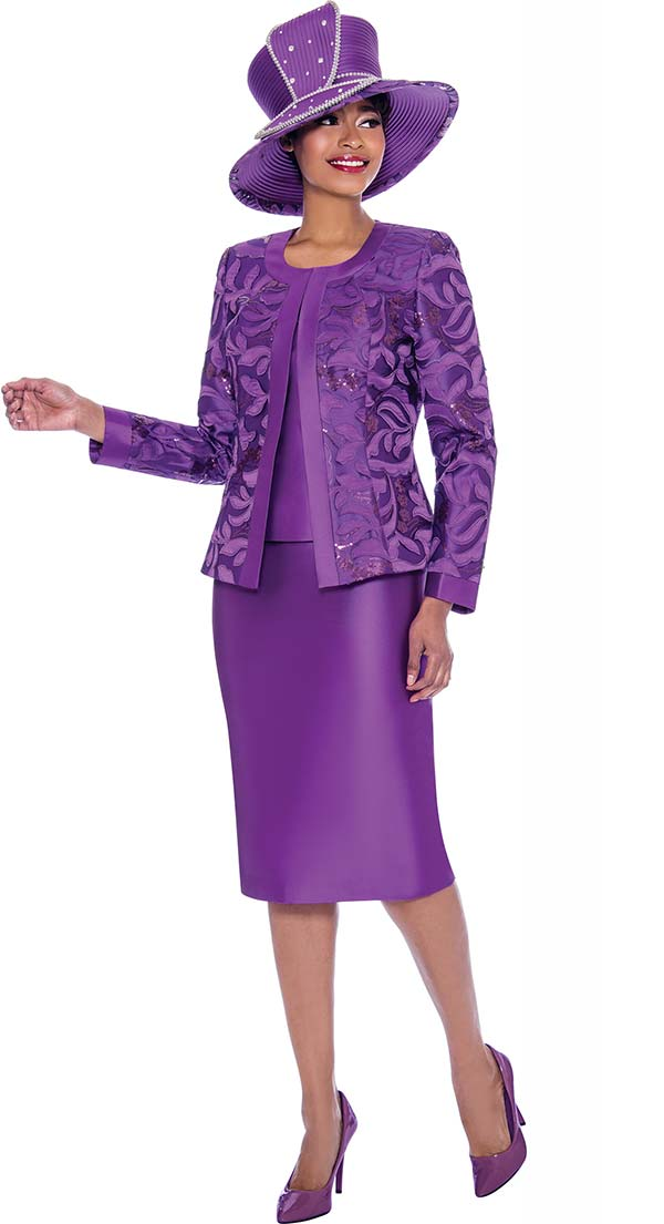 Susanna 3923-Purple - Womens Church Suit With Brocade Style Jacket And Solid Color Skirt