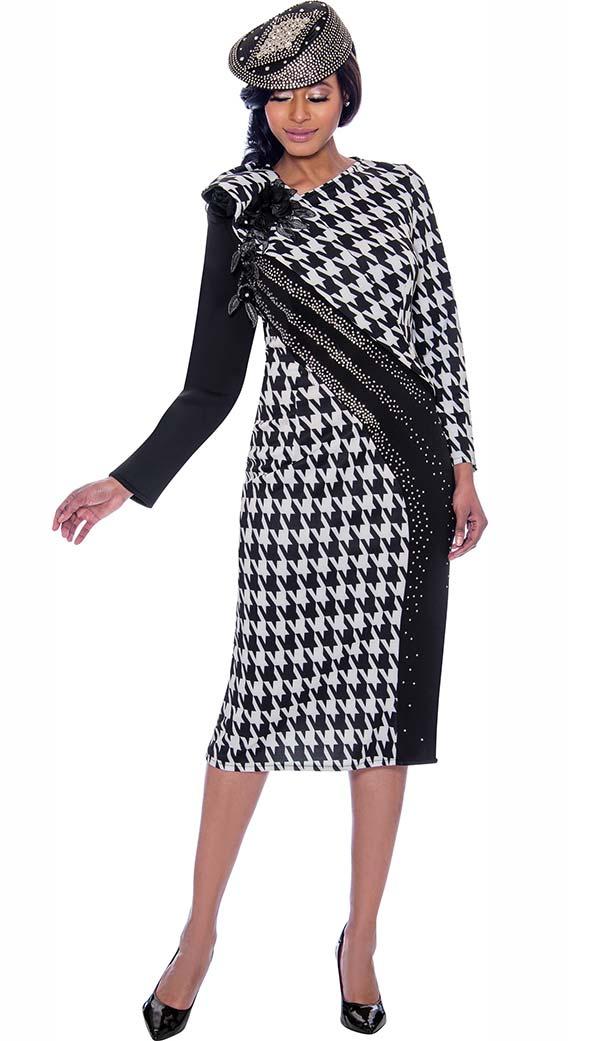 Susanna 3926 - Womens Dress In Houndstooth Pattern Design With Embellished Shoulder To Hemline Detail