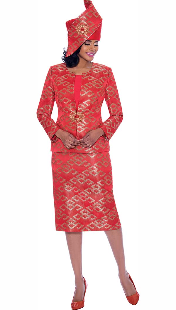 Susanna 3932-Red - Three Piece Womens Church Suit With Multidimensional Print Design