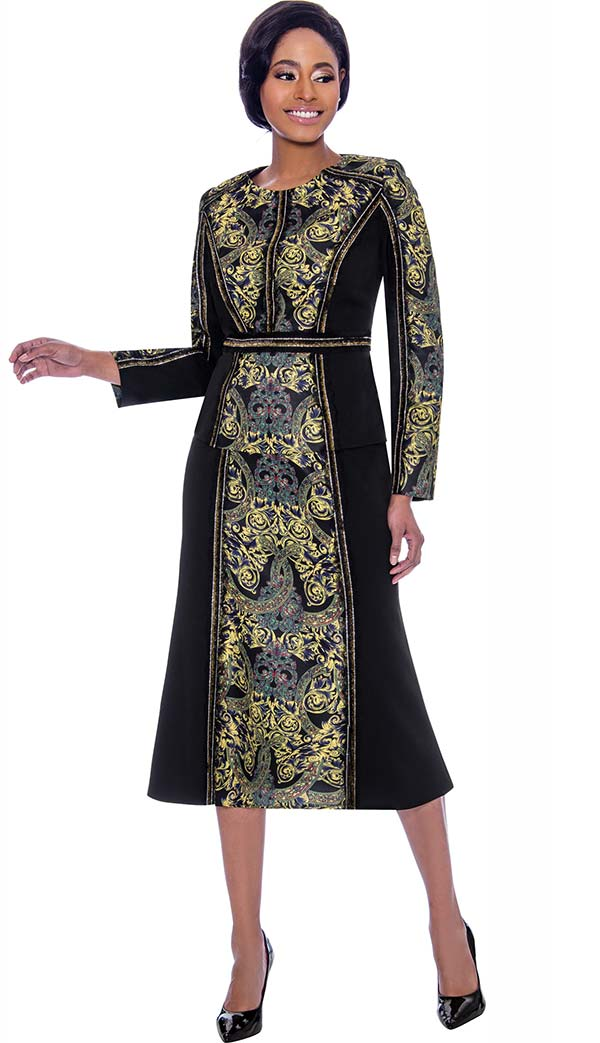 Susanna 3933 - Flared Skirt & Jacket Set With Printed Design