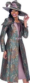 Susanna 3934 - Solid Color Womens Church Dress With Print Pattern Duster Jacket