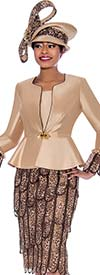 Susanna 3935 - Womens Church Suit With Solid Peplum Jacket And Layered Petal Design Skirt