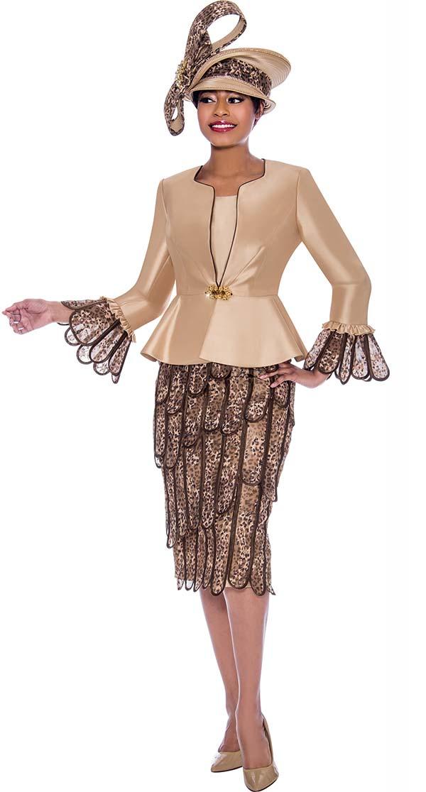 Susanna 3935 - Womens Church Suit With Solid Peplum Jacket And Layered Petal Design Skirt
