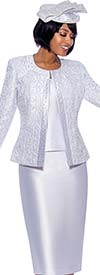 Susanna 3885-White - Womens Church Suit With Trim Embellished Brocade Style Jacket