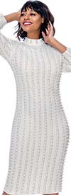 Susanna 3924-OffWhite - Long Sleeve High Collar Dress With Vertical Bead & Pearl Details