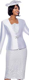 Susanna 3941-White - Church Suit With Lace Textured Skirt And Jacket Cuffs