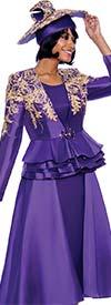 Susanna 3959-Purple - Three Piece Womens Church Suit With Layered Peplum Jacket And Side Panel Design