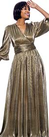 Susanna 3967 - Floor Length Surplice Neckline Dress With Bishop Style Sleeves