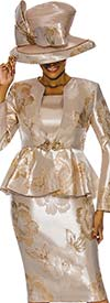Susanna 3845-Gold - Floral Design Womens Church Suit With Peplum Jacket