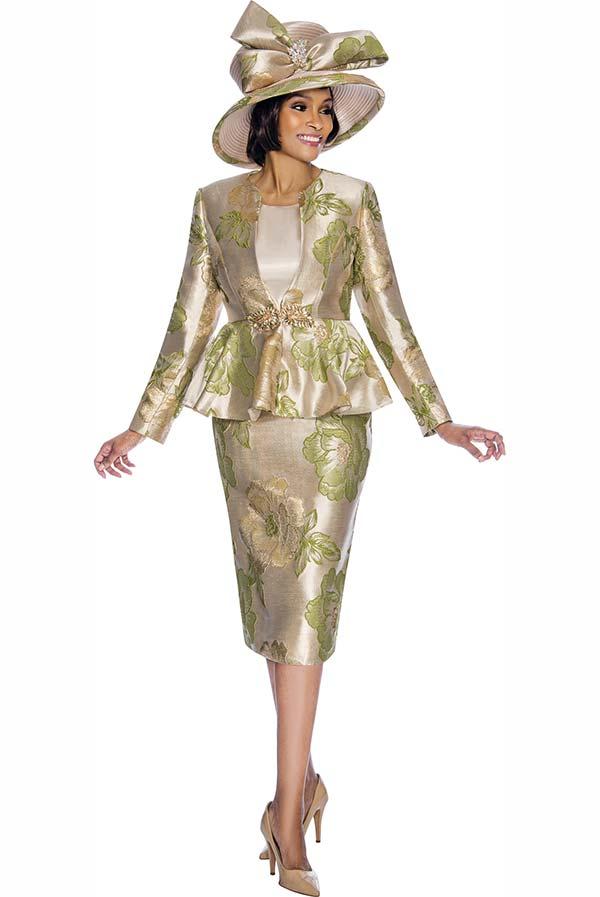 Susanna 3845-Green - Floral Design Womens Church Suit With Peplum Jacket